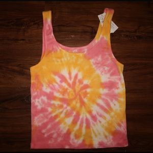 Small American Eagle Pink Tie-Dye Tank Top